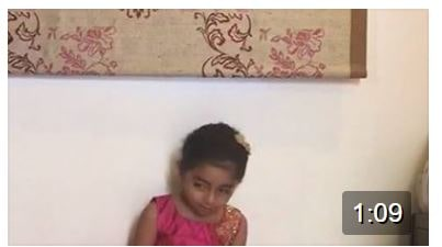 The very little Saanvi ….Check out the way she says:) Adorable -just as little as 4 years chants the 5 names of Goddess Durga so well:)
