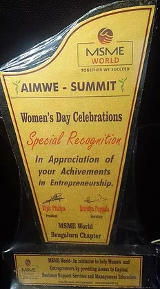 Special Recognition ( category - women entrepreneur) by MSME World was awarded to Divyaa Doraiswamy at AIMWE Summit