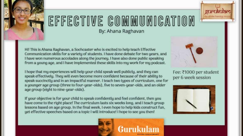 """GURUKULAM introduces """"The Program – Effective Communication""""…"""